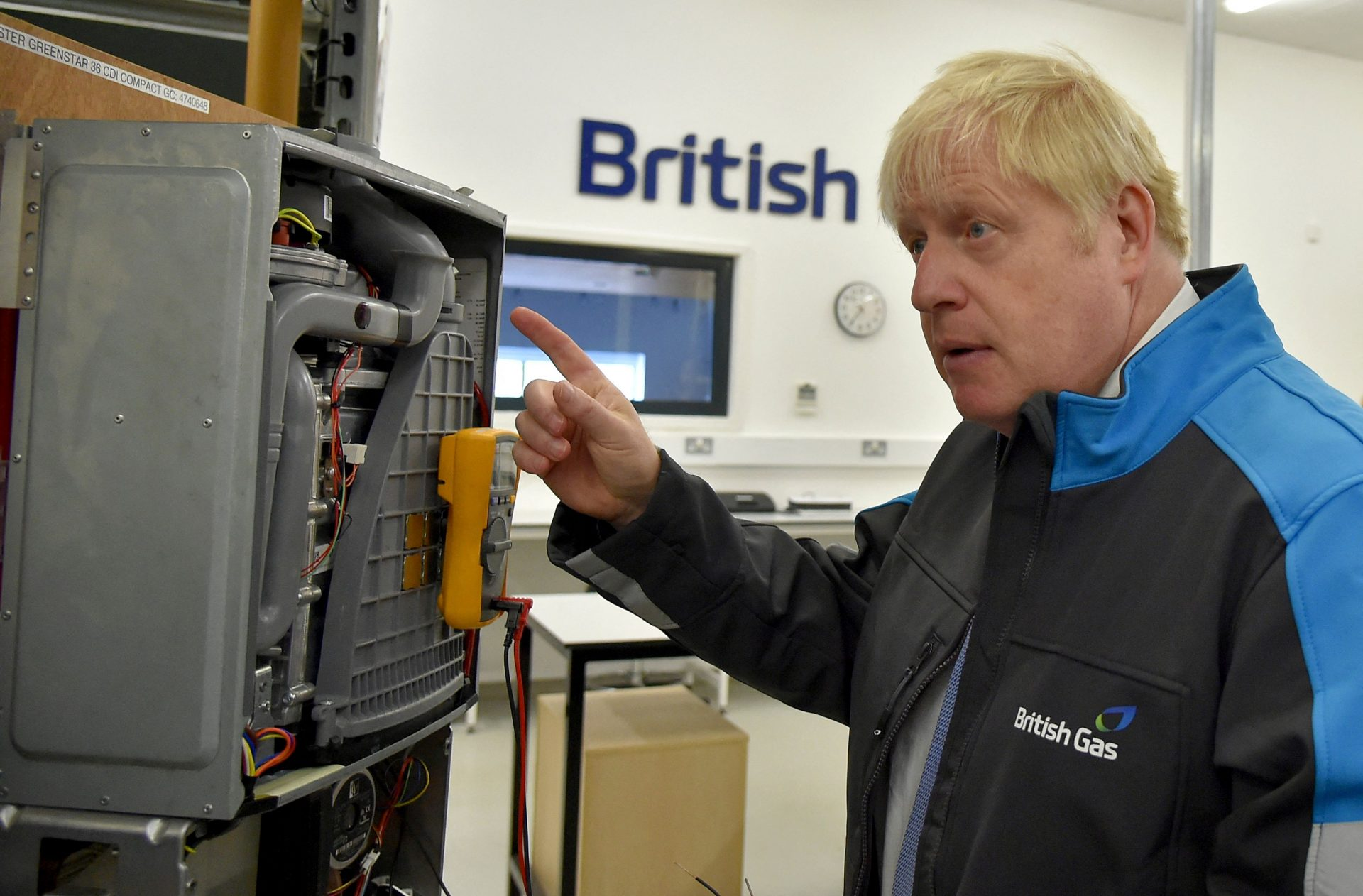 Boris Johnson during a visit to a British Gas training academy. Photograph: Getty Images.