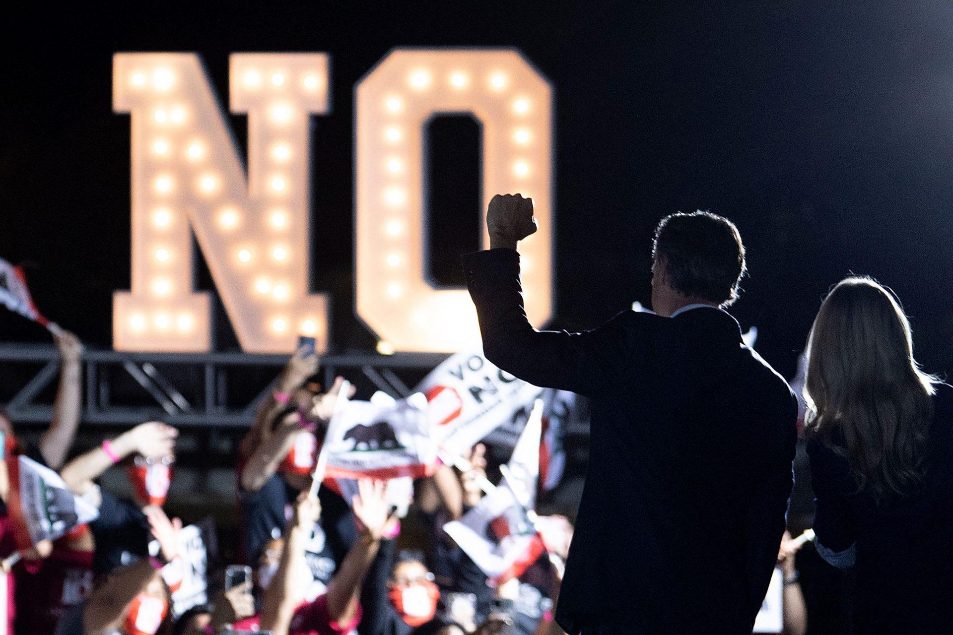 California governor Gavin Newsom at an anti-recall event in Long Beach, California. Photo: Brendan Smialowski/AFP via Getty Images.