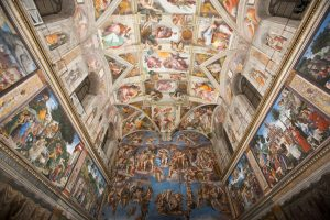 Michelangelo's Sistine Chapel ceiling and depiction of the Last Judgment on the altar wall.