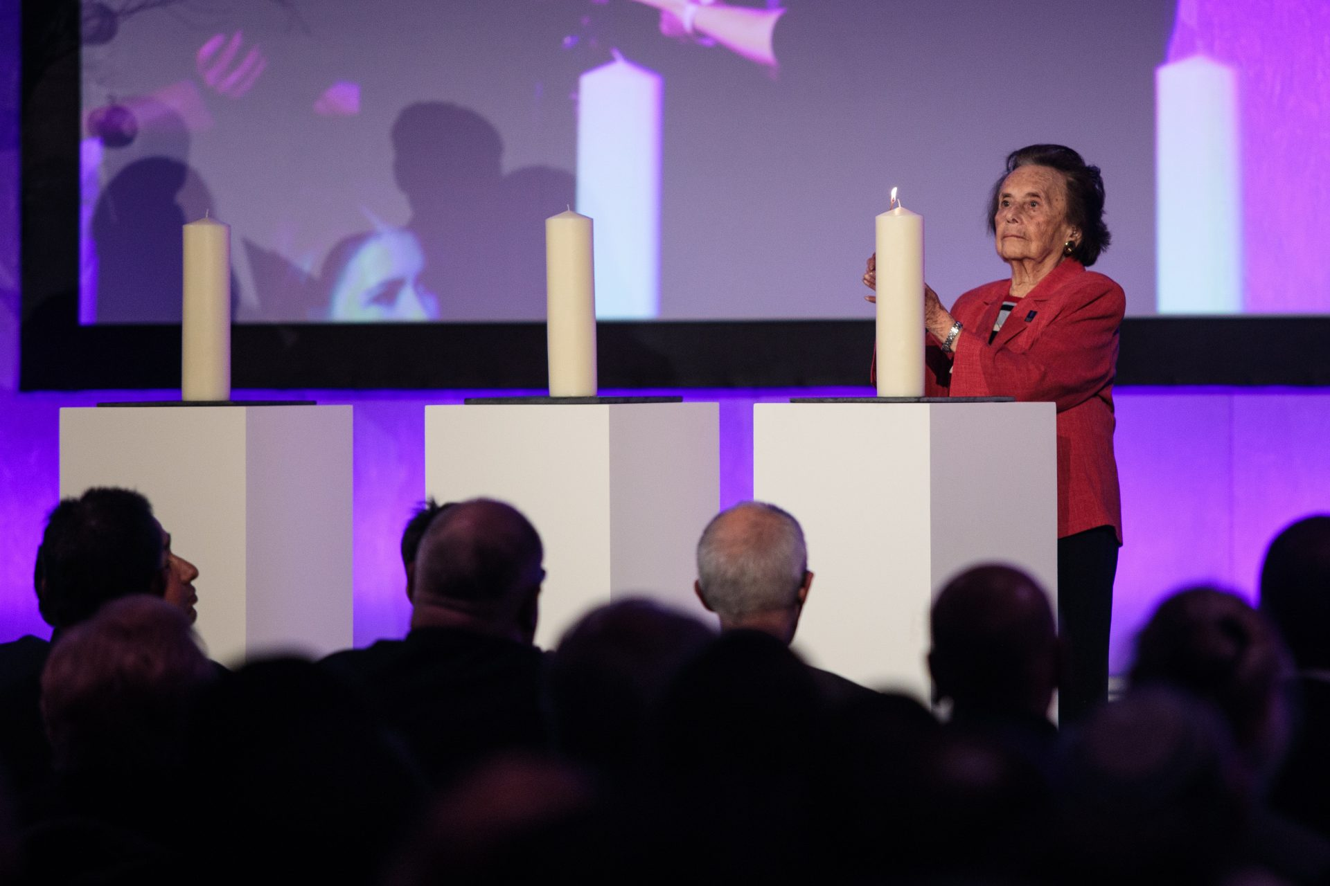 Holocaust survivor Lily Ebert lights a candle during a National Holocaust Memorial Day event at the Queen Elizabeth II Conference Centre. Credit: Jack Taylor/Getty Images