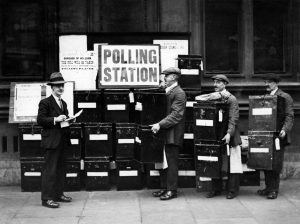 The way we used to vote: Officials pile up ballot boxes during counting for the 1931 UK general election. Photo: Keystone France/Gamma-Rapho via Getty
