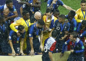FIFA president Giovanni Infantino congratulates France captain Hugo Lloris after his team's 2018 World Cup victory against Croatia. Credit: Matteo Ciambelli/NurPhoto via Getty Images