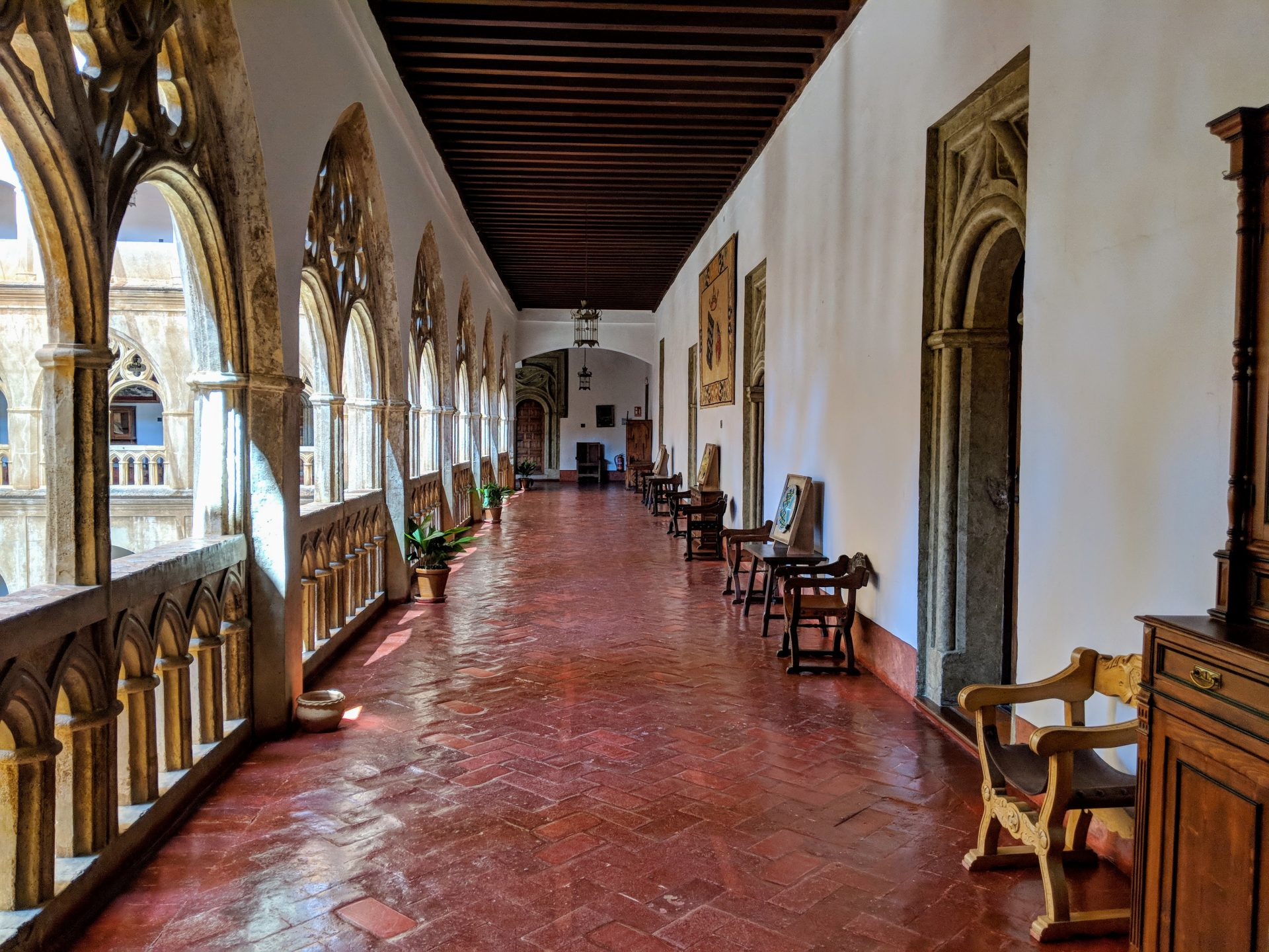 The tiled corridor at the Hospedería. Credits: Peter Barron