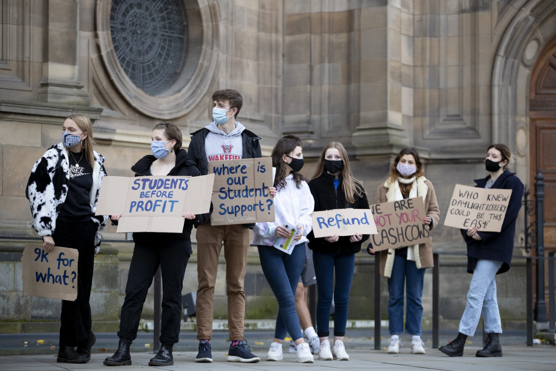 Students protest outside the McEwan Hall in Bristo Square, Edinburgh, against the University of Edinburgh's treatment of students. Photograph: PA.