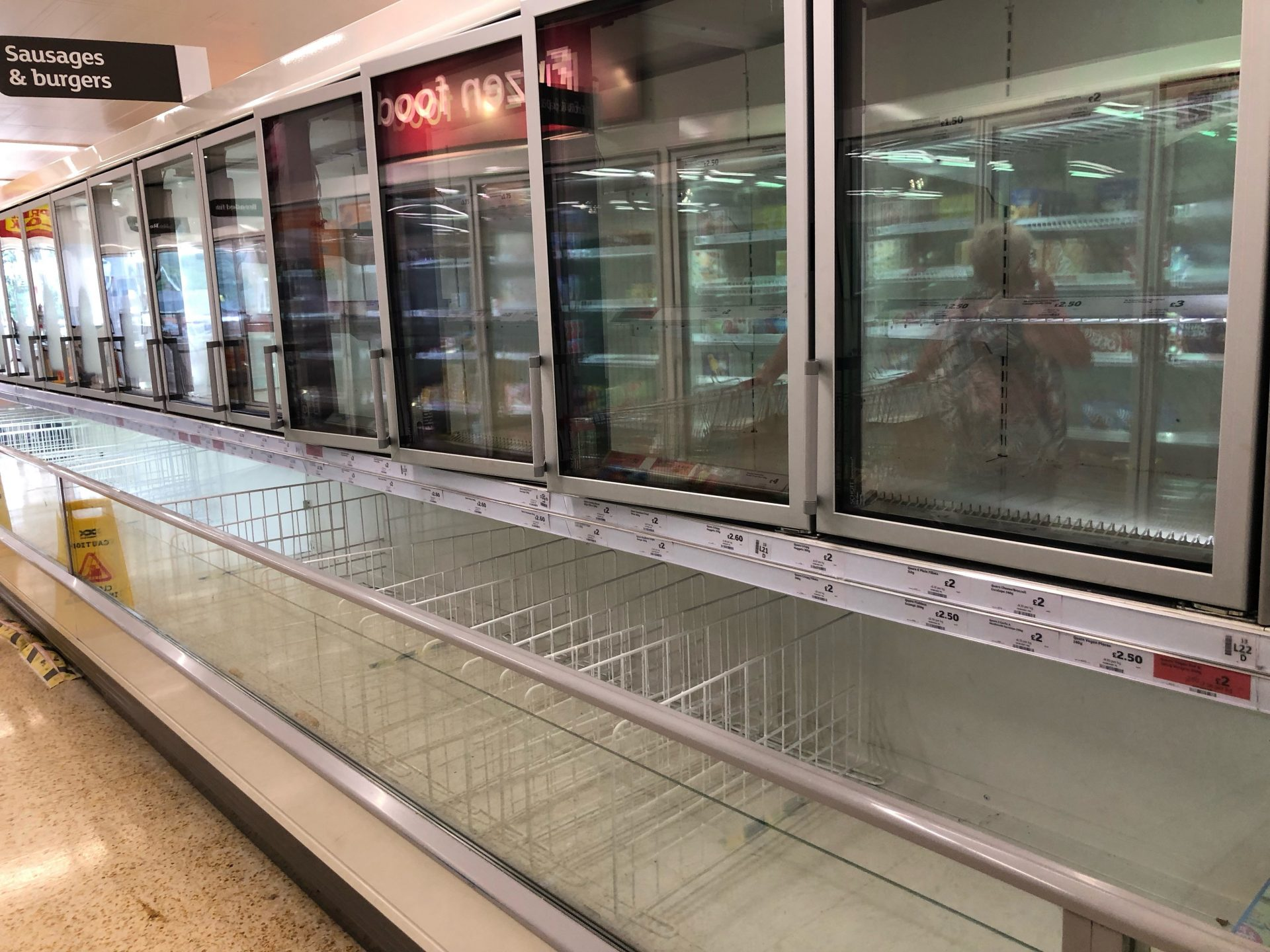 The empty sausage and burger section of the freezer aisle at the Sainsbury supermarket at the Arnison Centre, Durham. Photograph: PA Images.