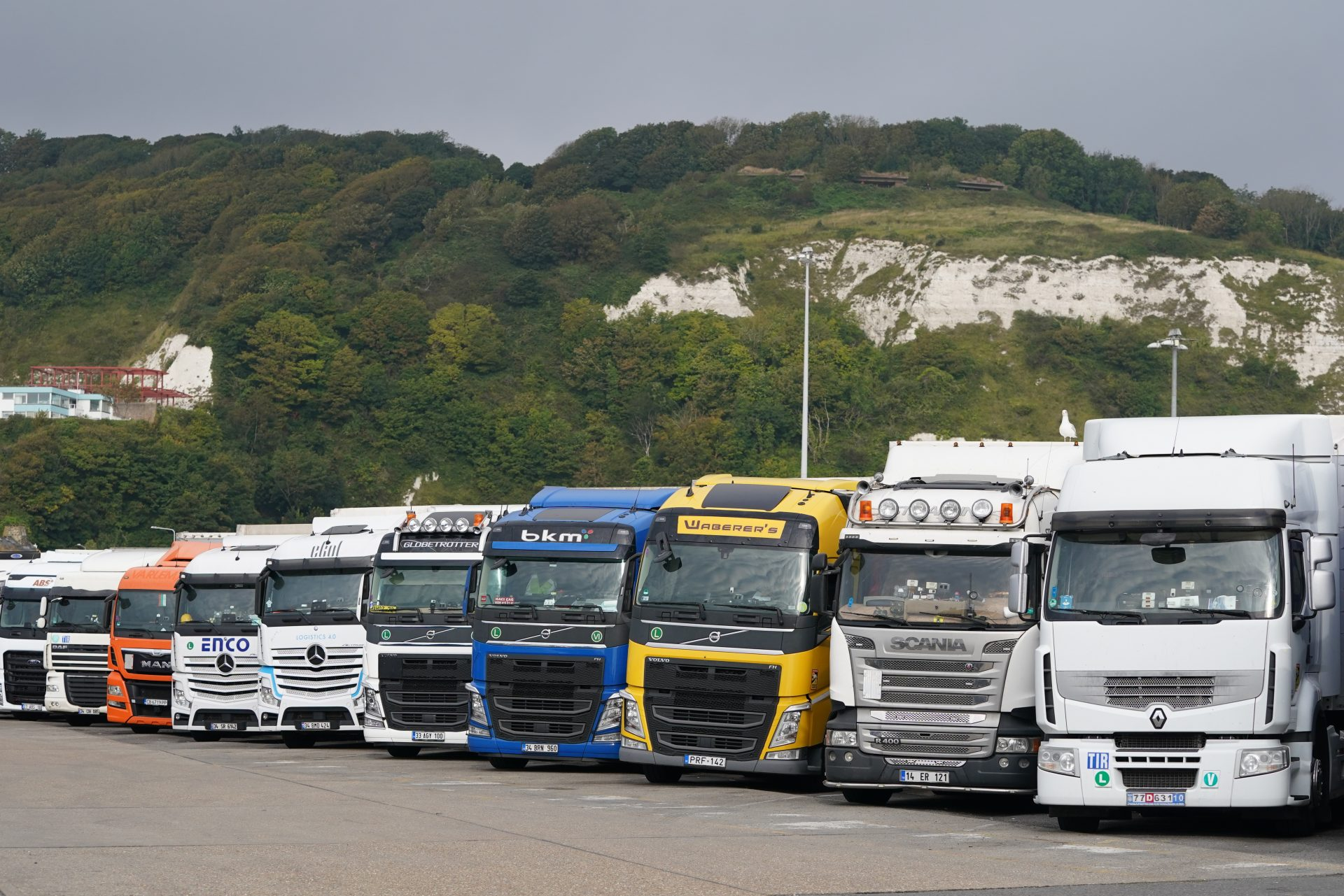 European lorries parked in Dover, Kent, as the Government is considering temporary measures to tackle the shortage of HGV drivers. Photograph: PA.