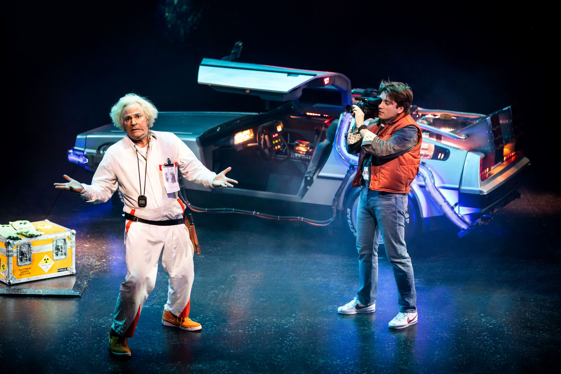 Roger Bart as Doc Brown and Olly Dobson as Marty McFly in Back to the Future: The Musical. Credit: Sean Ebsworth Barnes