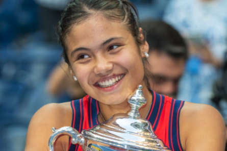 Emma Raducanu with her US Open Trophy - proving one thing only; she's terrific at tennis