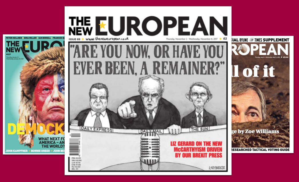 Some of The New European's creative front covers