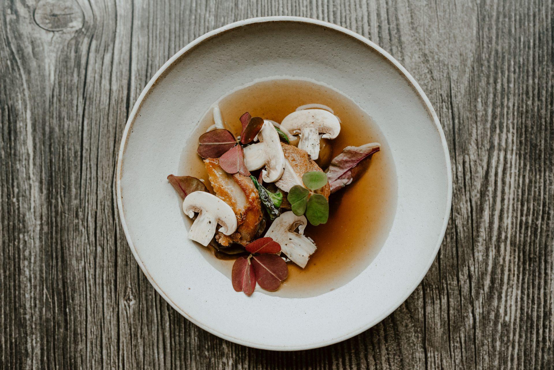 Roberta Hall McCarron's BBQ quail with mushroom broth, onions and leeks. Credit: Amelia Claudia