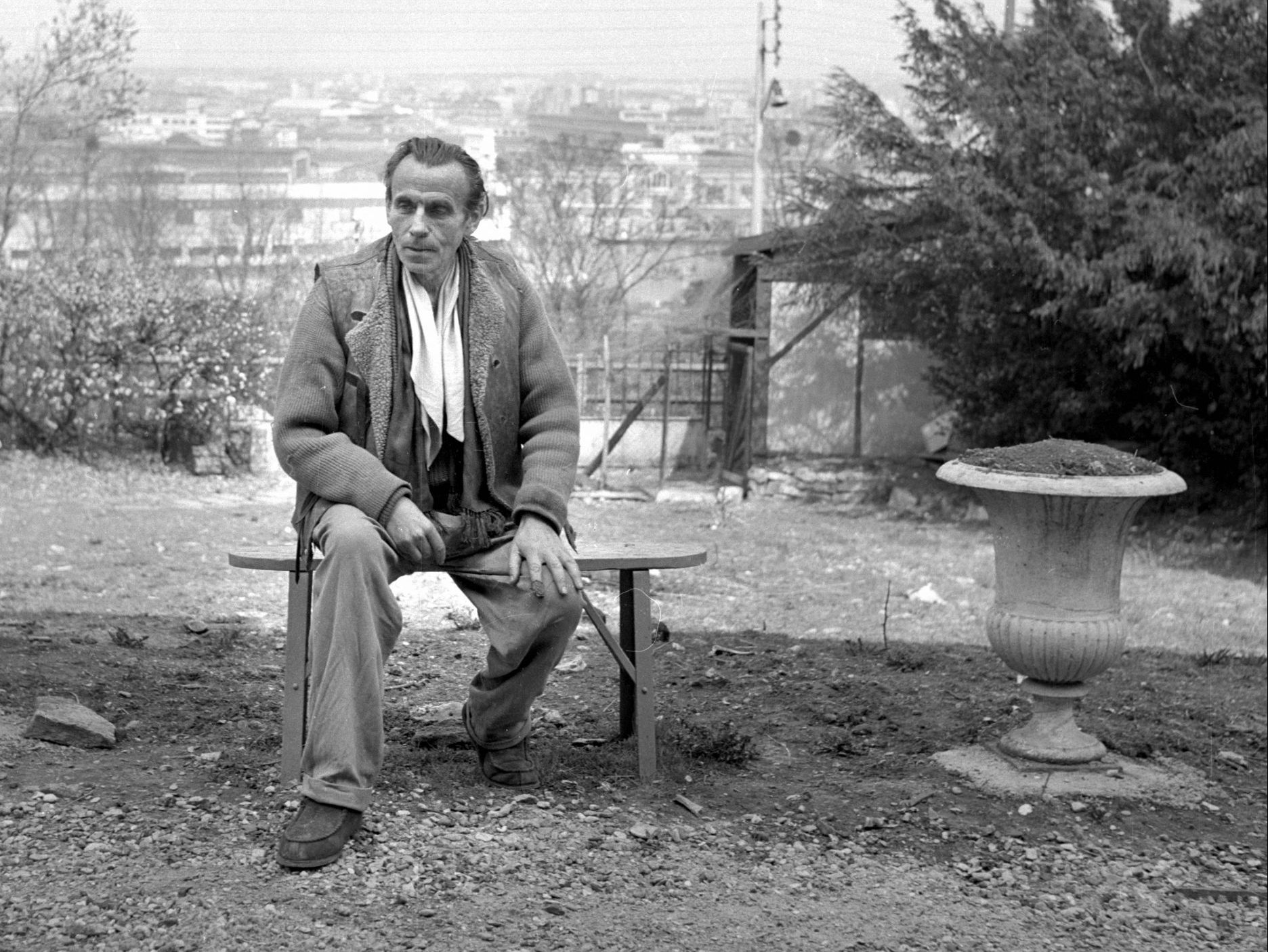 Louis-Ferdinand Destouches, aka Celine in Meudon, a Paris suburb, in 1955. The writer and his wife settled there after he returned to France, having fled at the end of the war. Credit: Roger Viollet via Getty Images