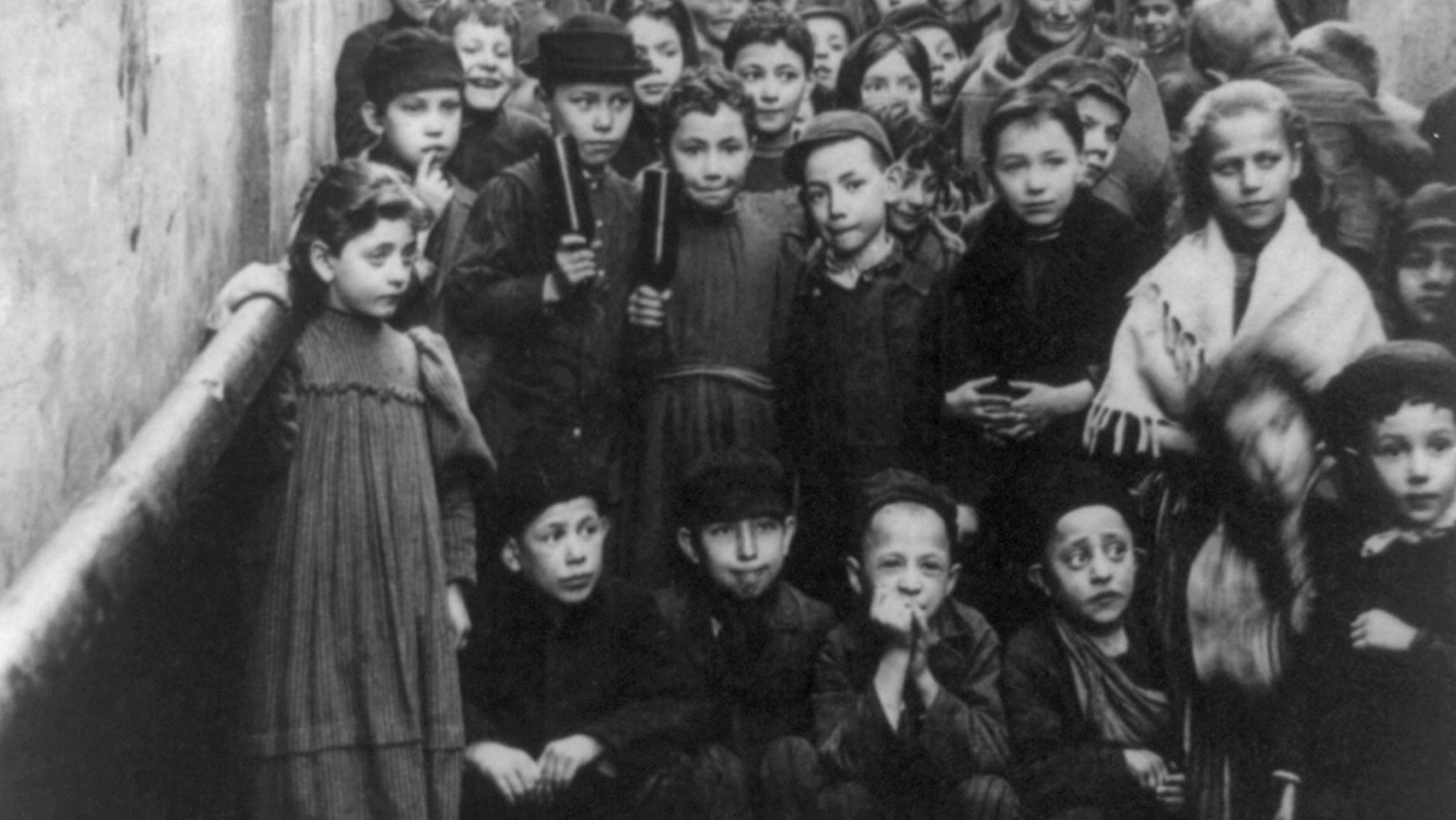 Jewish children in the streets of Warsaw, in an image from 1897. Credit: Universal History Archive/UIG via Getty