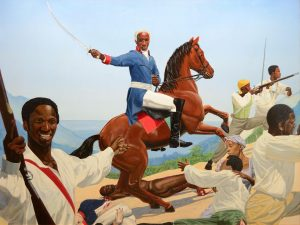 Kimathi Donkor's Touissant L'Ouverture at Bedourette, a reworking of Jacques-Louis David's Napoleon Crossing the Alps, below. Credit: Kimathi Donkor