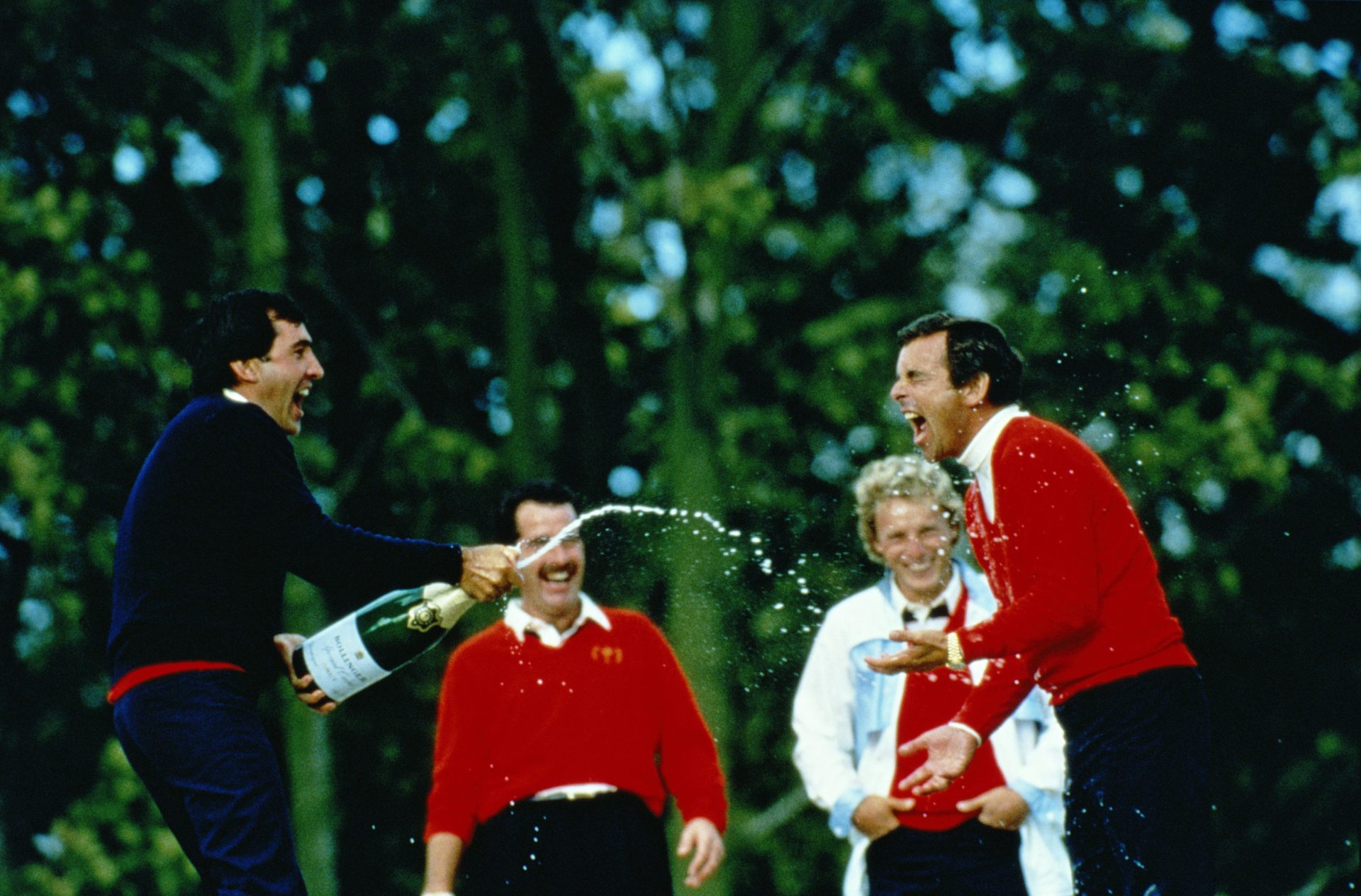 Seve Ballesteros, Sam Torrance, Bernhard Langer and Team Europe captain Tony Jacklin celebrate victory at The Belfry in 1985 – but success did not always come so readily. Credit: David Cannon/Getty Images