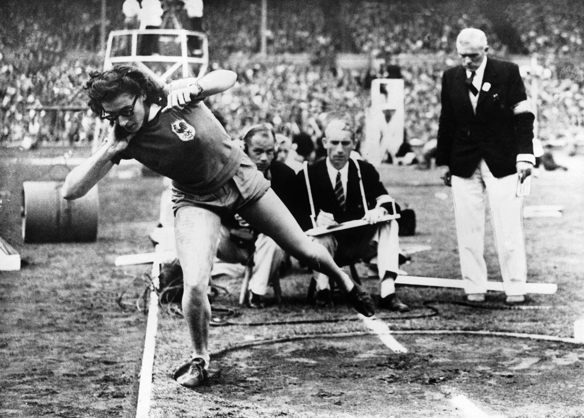 Micheline Ostermeyer, as she takes her gold medal-winning throw in the Olympics shot put at Wembley Stadium, in 1948 Photo: Gamma-Keystone via Getty Images