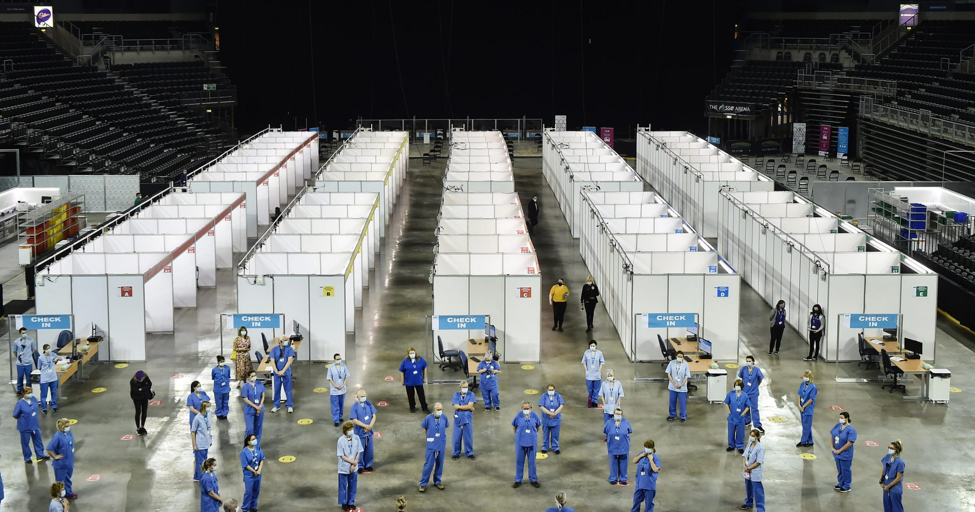 A dystopian-looking vaccine centre at Belfast's Odyssey Arena. Photo: Charles McQuillan.