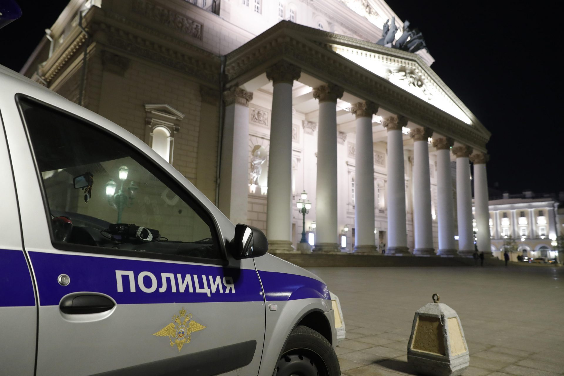 A police car outside Moscow's Bolshoi Theatre after actor Yevgeny Kulesh was crushed to death by a prop during a performance of Sadko by Nikolai Rimsky-Korsakov. Photo: Mikhail Japaridze/TASS via Getty Images