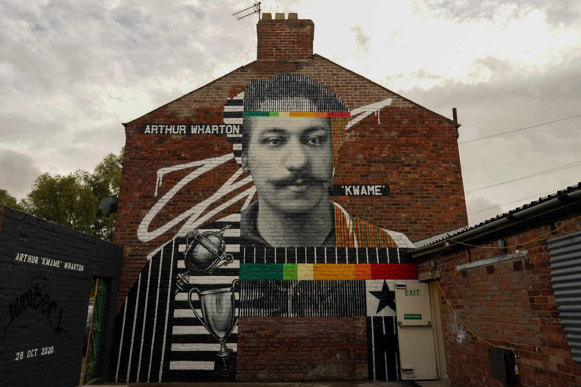 A mural of Arthur Wharton, the first black footballer who turned out for Darlington, is unveiled to mark his 155th anniversary (Photo by Ian Forsyth/Getty Images)