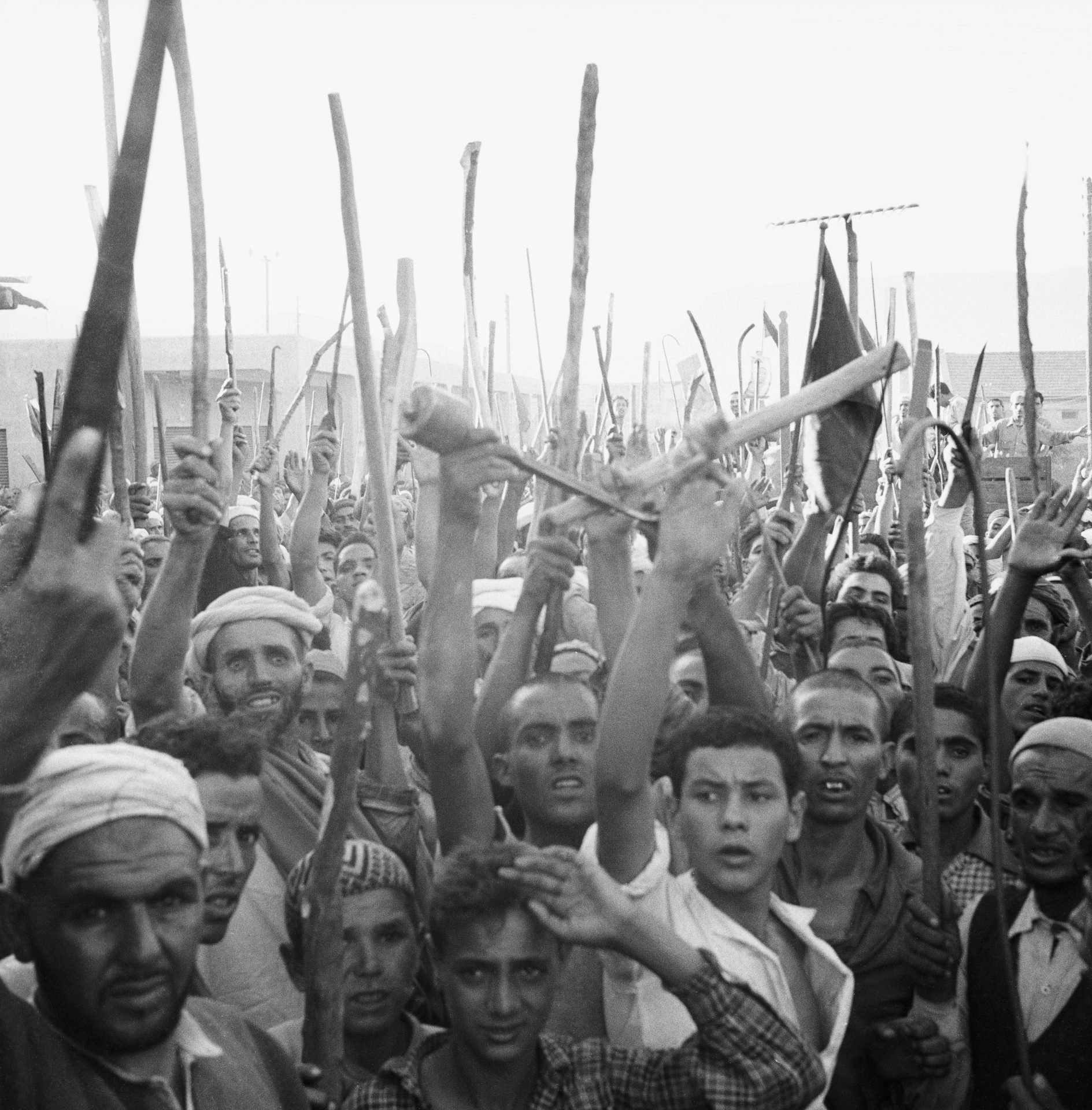 Protesters in Khenifra, French Morocco, wave weapons during an uprising against the French government in 1955. The struggle for independence forms the backdrop of Paul Bowles' novel The Spider House. Photo: Bettmann Archive/Getty.