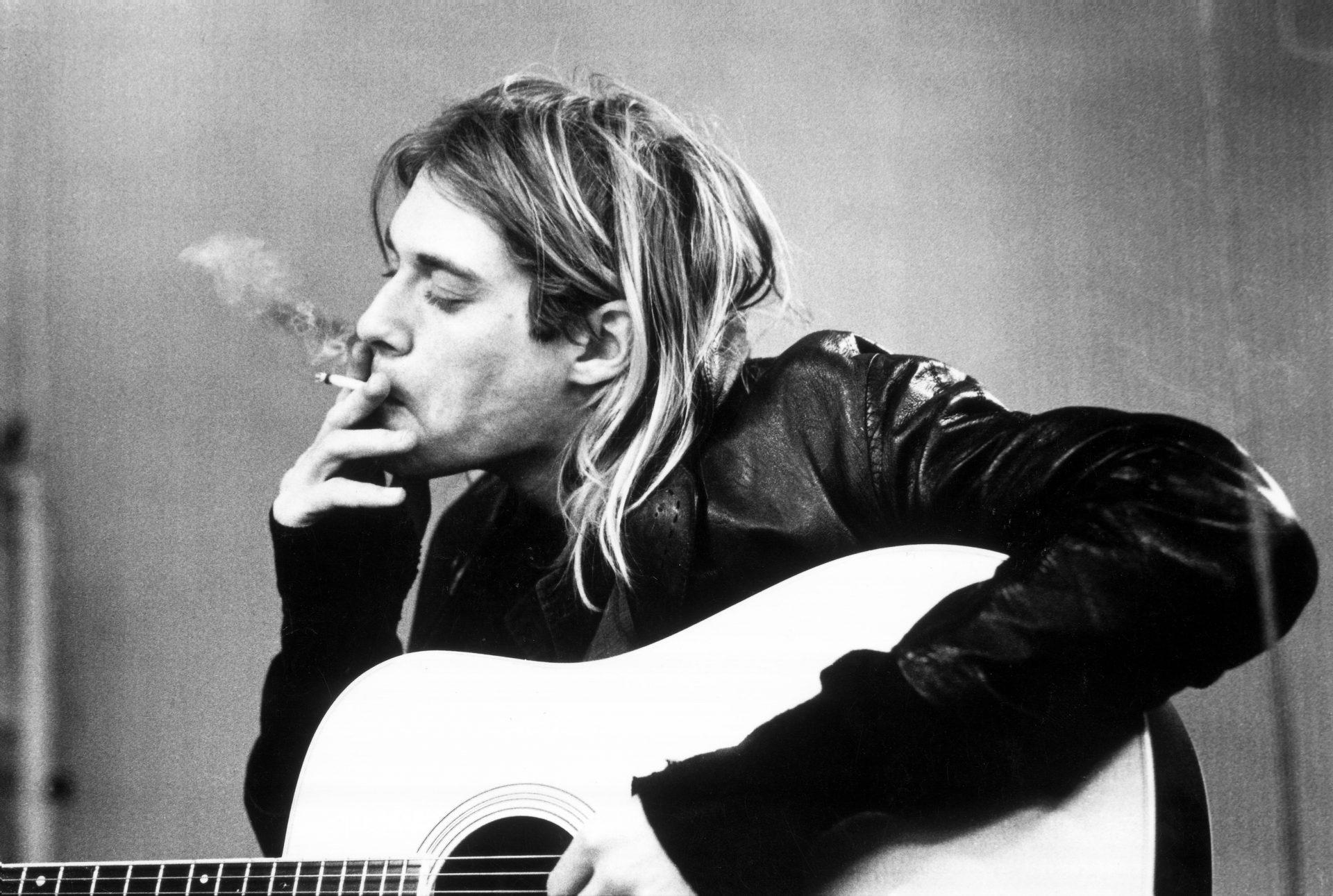 Kurt Cobain recording in Hilversum Studios smoking a cigarette. Photo: Michel Linssen/Redferns.