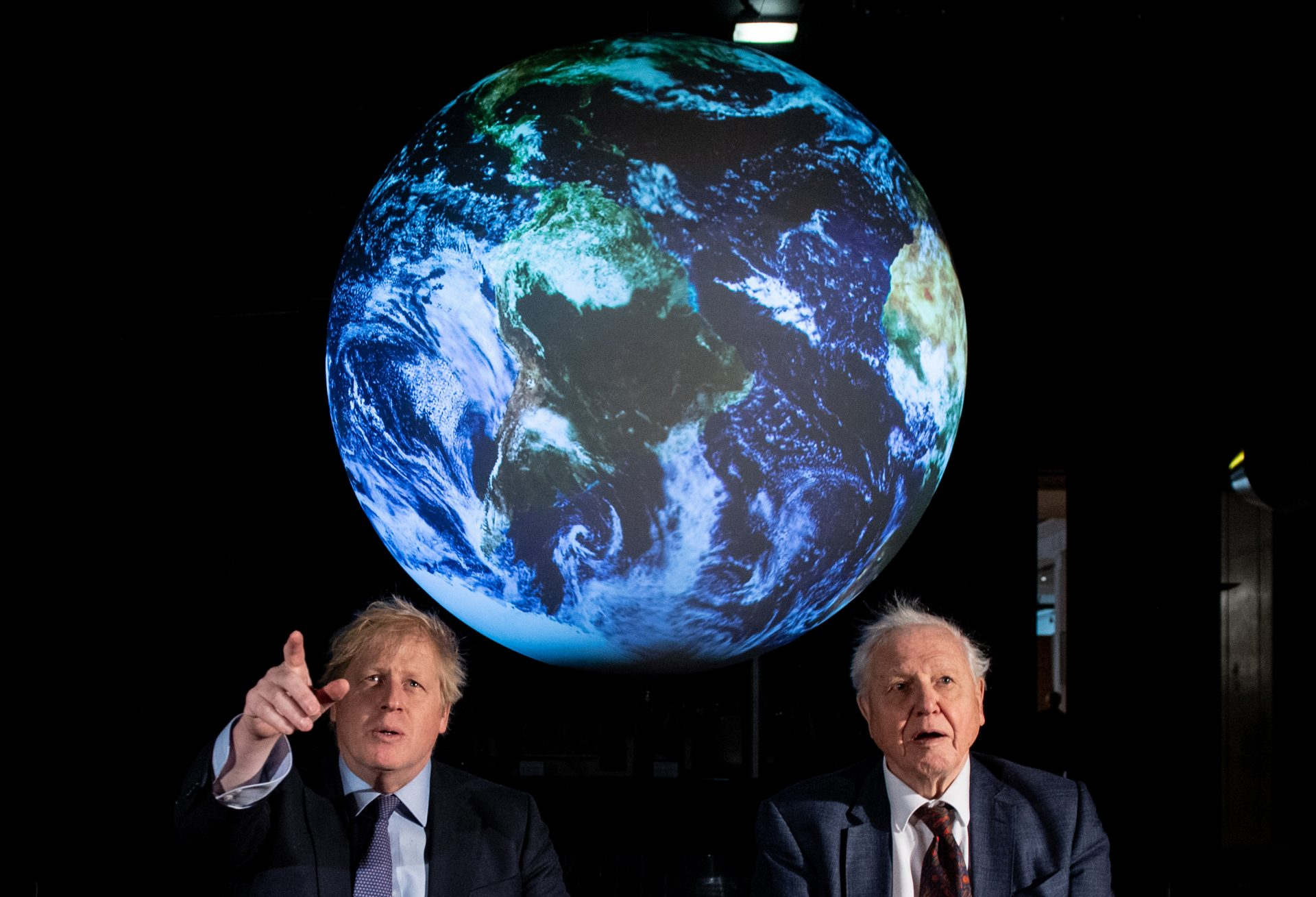 The Prime Minister Boris Johnson (left) and Sir David Attenborough at the launch of the next COP26 UN Climate Summit at the Science Museum, London. Photograph: Chris J Ratcliffe/PA Archive/PA Images.