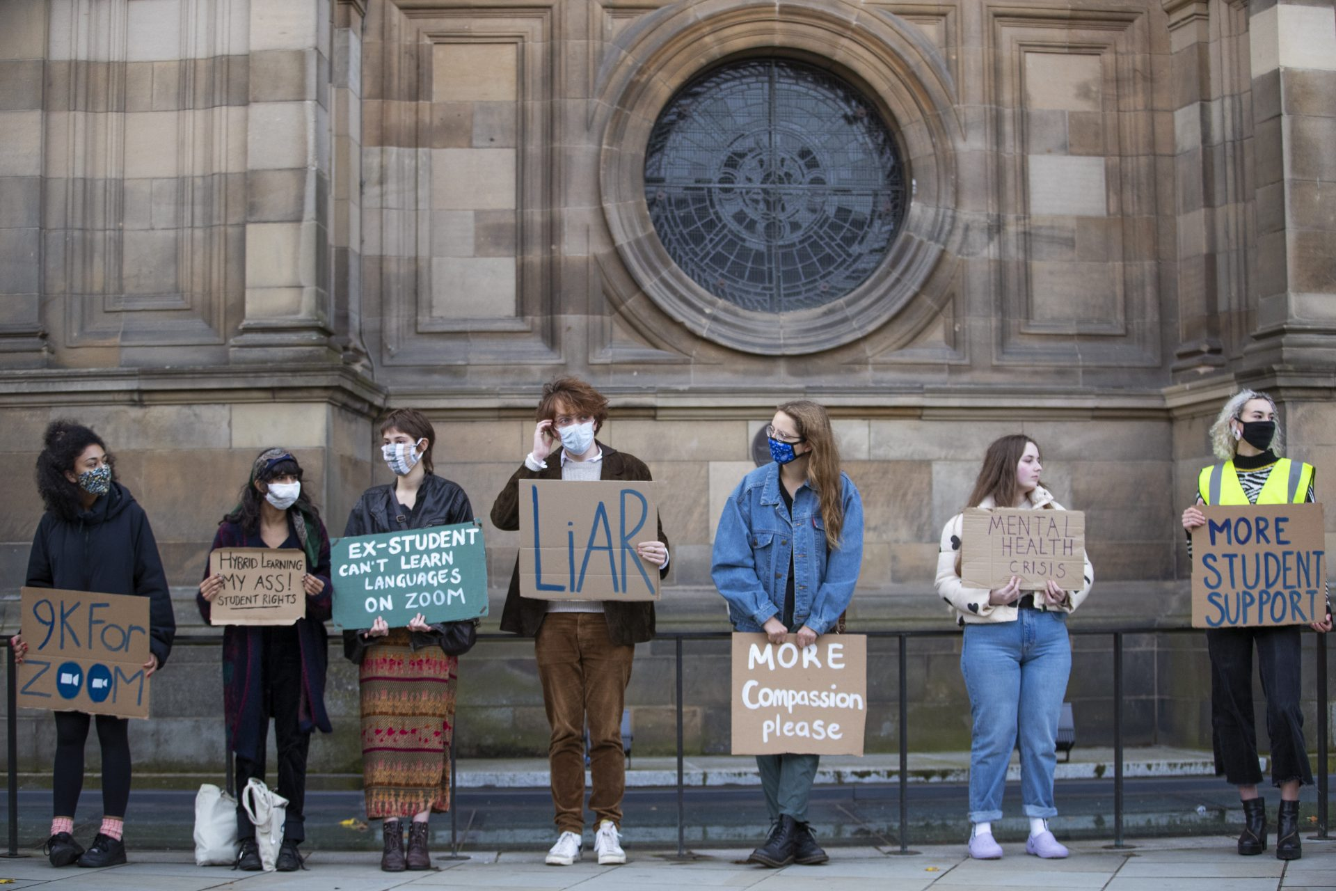 Students protest against hybrid learning proposals for universities. Photograph: Jane Barlow/PA.