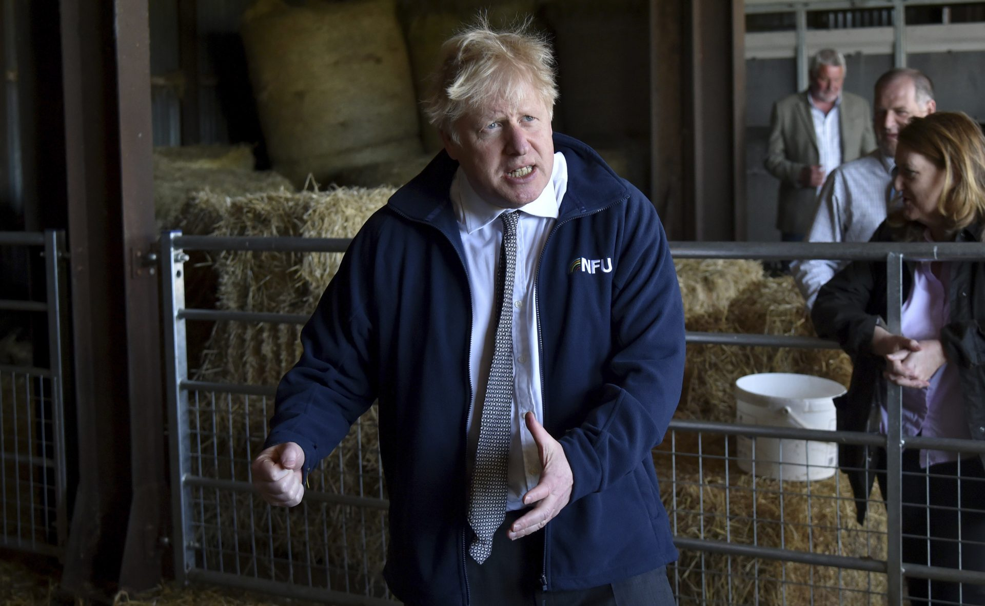 Prime Minister Boris Johnson during a visit to the Moor Farm in Stoney Middleton, north Derbyshire. Photograph: PA.