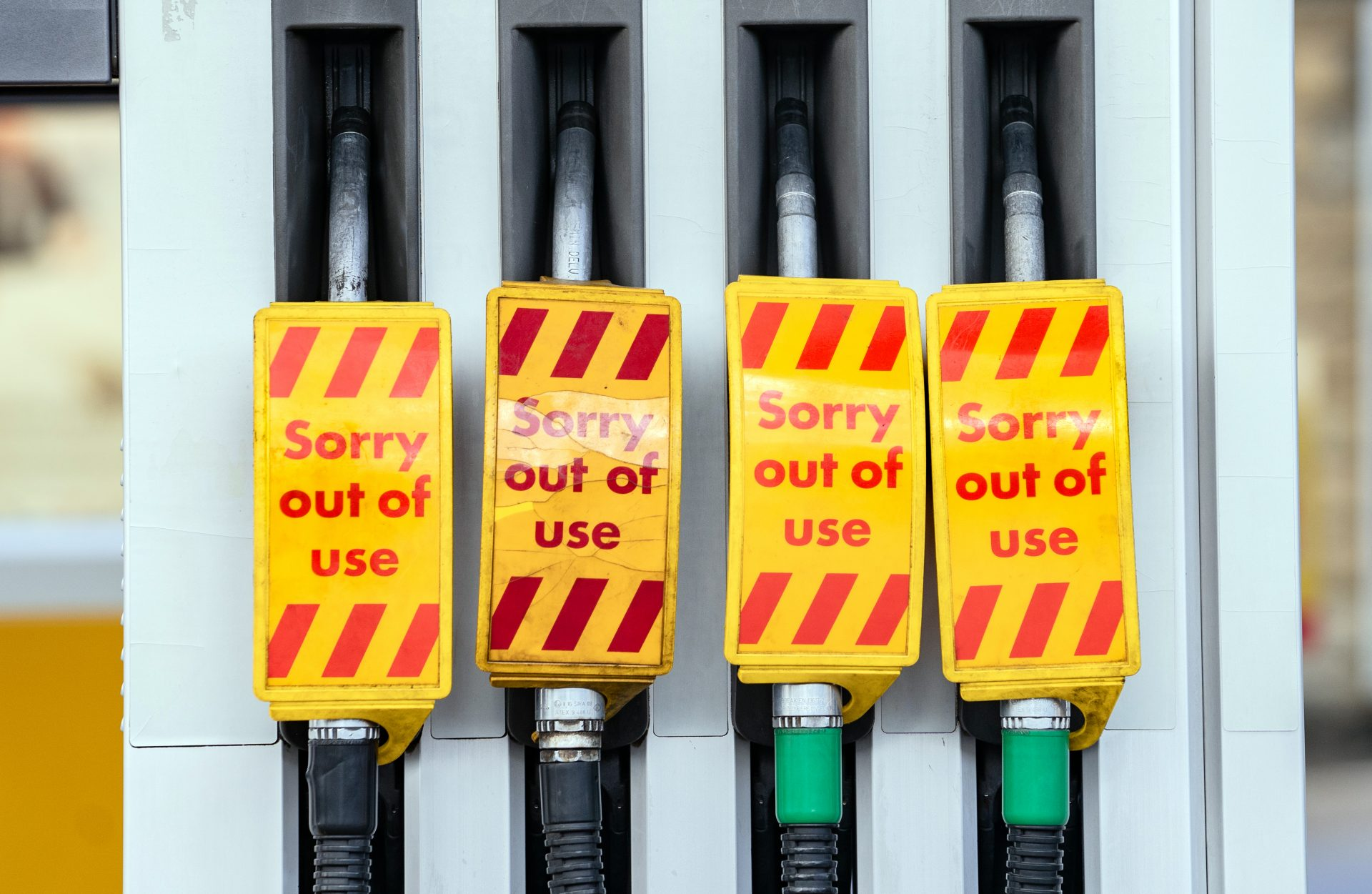 A shortage of lorry drivers and subsequent panic buying led to empty pumps at petrol stations. Photograph: PA.