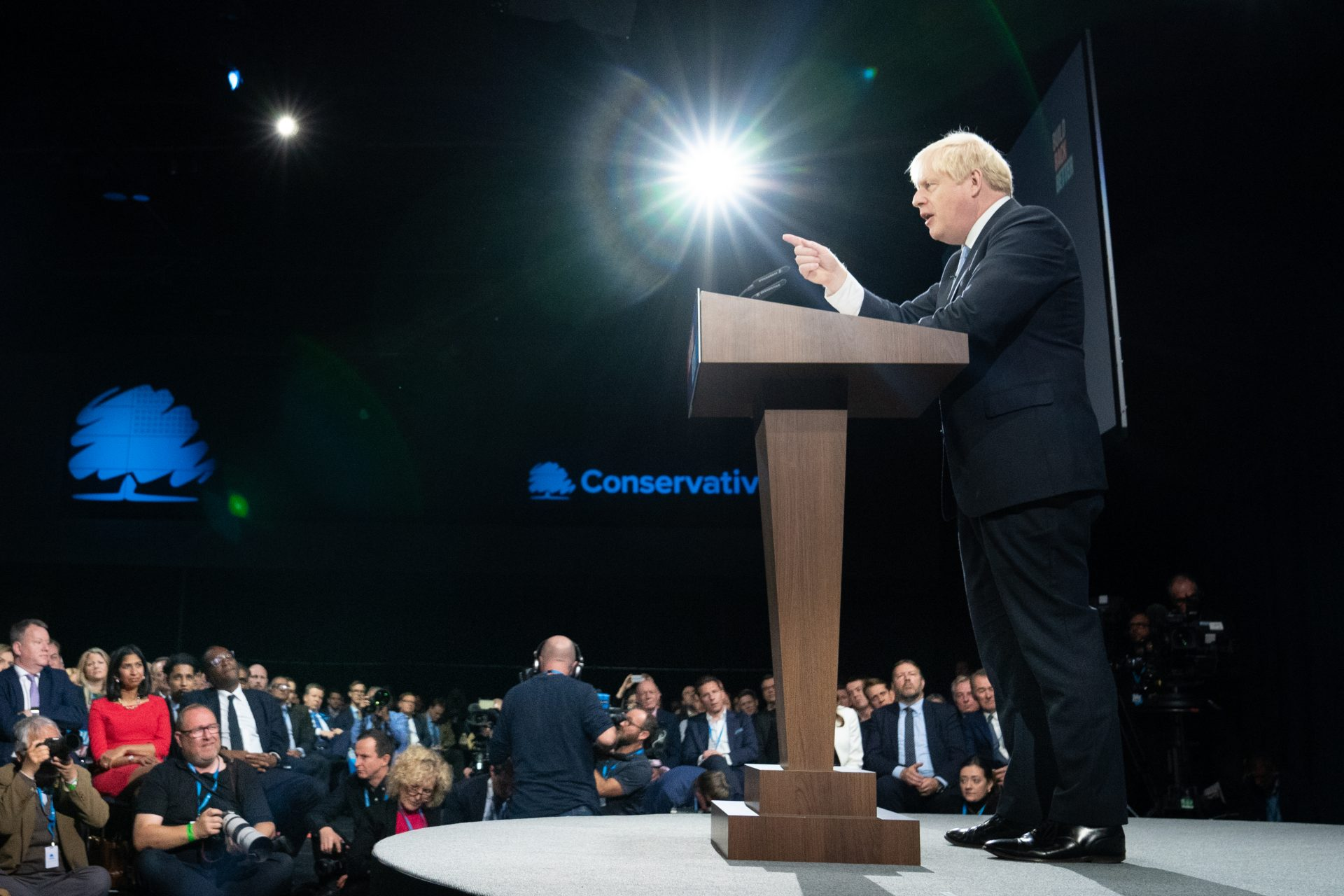 Prime Minister Boris Johnson delivers his speech at the Conservative Party Conference in Manchester.  Photograph: Stefan Rousseau/PA Wire/PA Images.