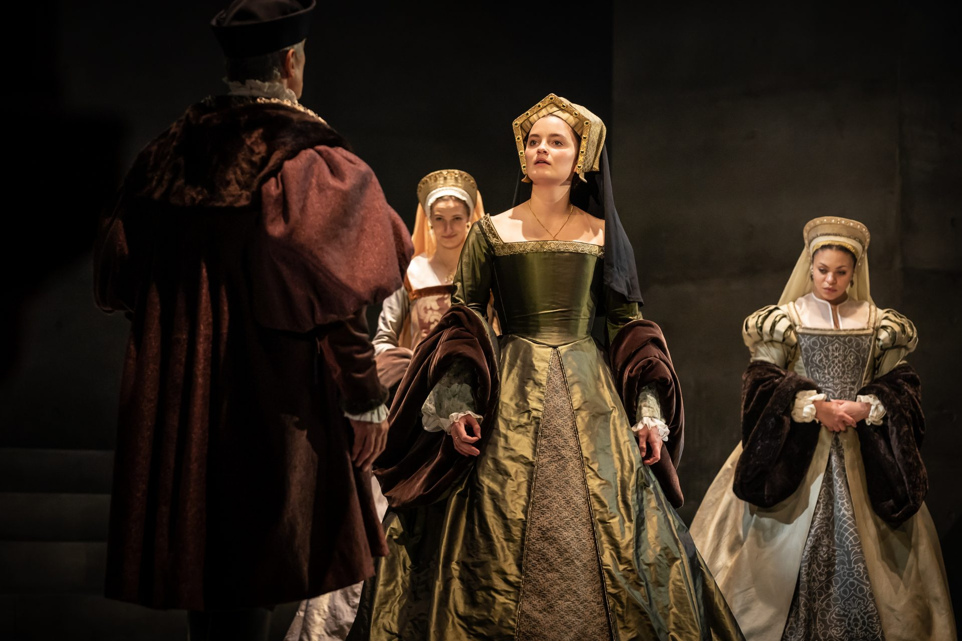 Rosanna Adams (centre) as Anne of Cleves in The Mirror and the Light. Photo: Marc Brenne