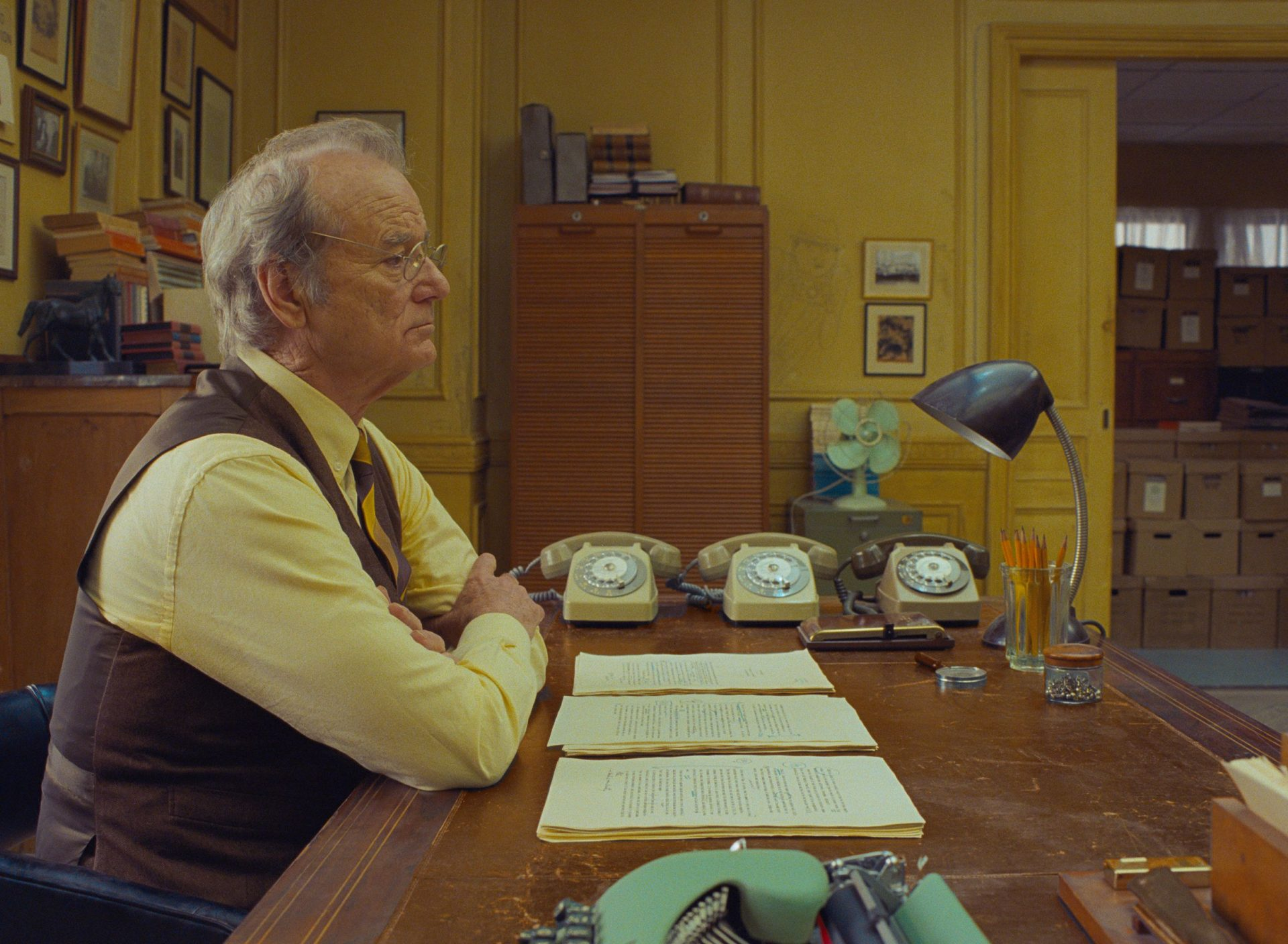 Wes Anderson favourite Bill Murray in a scene from Anderson's The French Dispatch. Film photos: Searchlight Pictures